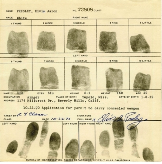 Set of Elvis Presley fingerprints
