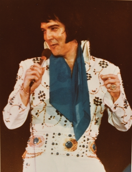 Elvis wearing Aqua Blue Vine Jumpsuit