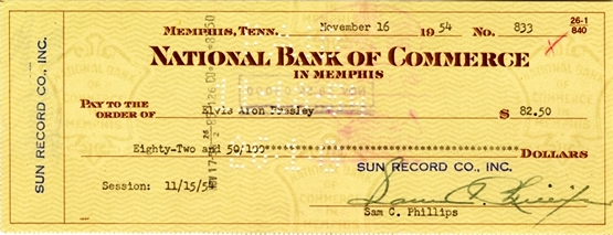 Sun Records Check to Elvis Presley