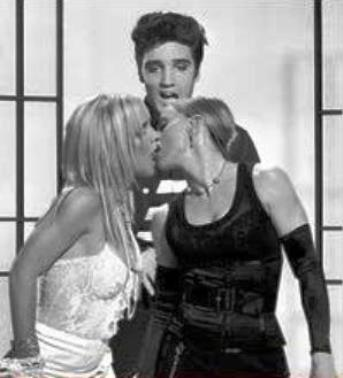 Elvis Watching Two Girls Kiss
