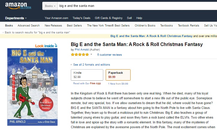 Amazon Page for Big E and the Santa Man
