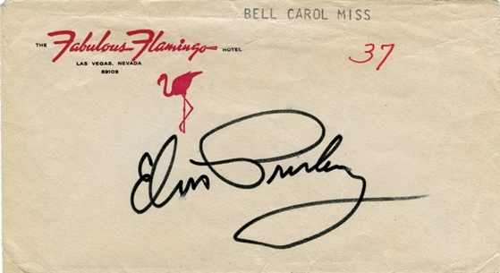 Elvis Presley Signed Flamingo Hotel Envelope