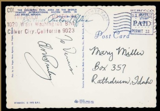 Elvis Presley Signed Postcard
