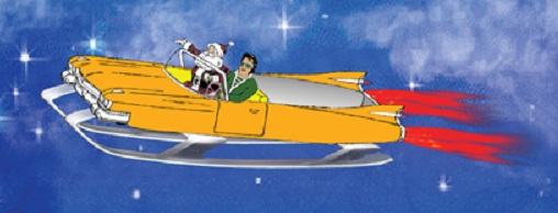 Santa and Elvis in Jet Sled