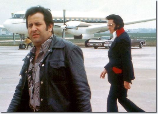 Joe esposito and Elvis at memphis Airport