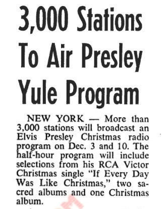 3,00 Stations Carrying Elvis Special Christmas Radio Program