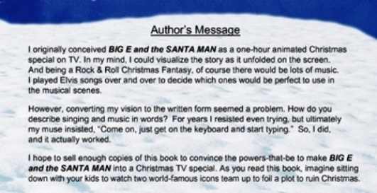 Big E and the Santa Man -- Authors Message