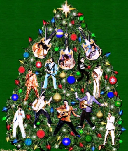Christmas Tree Decorated with Elvis Figurines
