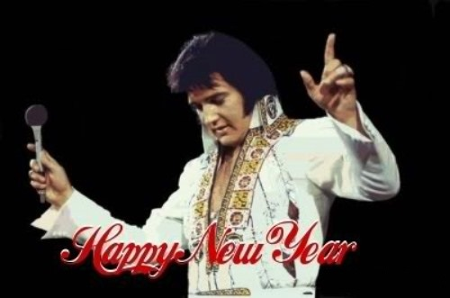 Elvis Arms raised - Happy New Year