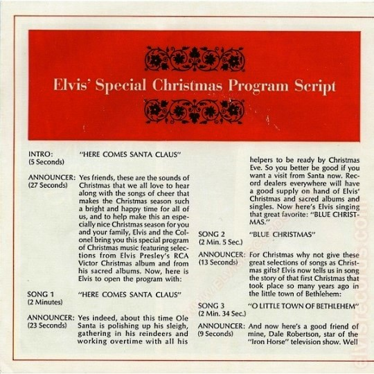 Elvis Special christmas Programming Script Page 1