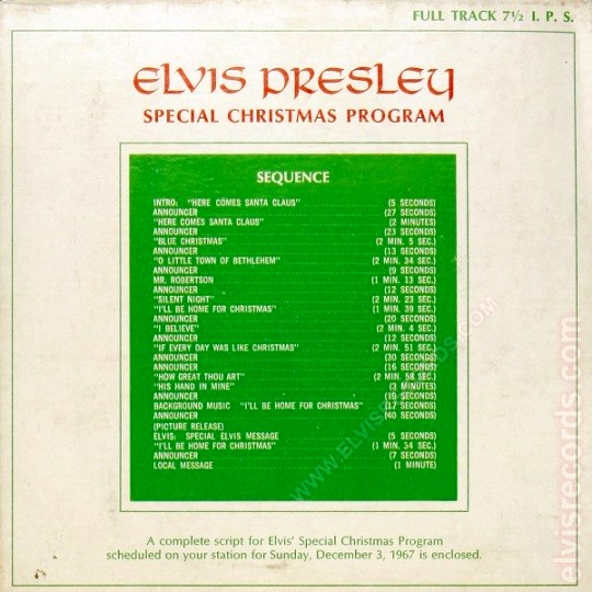 Elvis Special Christmas Program Sequence