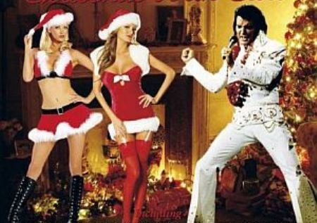 Elvis and Two babes Around Christmas Tree