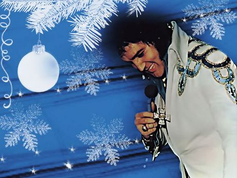 Elvis in White Jumpsuit at Christmas