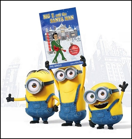 Minions Holding Big e and the Santa Man