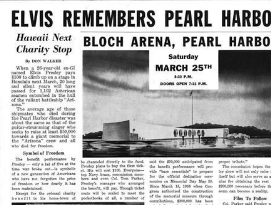 Newspapre Article on Elvis Performing at Pearl Harbor