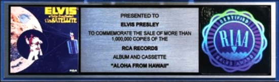 Elvis - Aloha from Hawaii Platinum Record Award.
