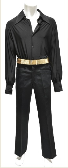 Elvis Presley Black pants and Shirt, Gold Belt
