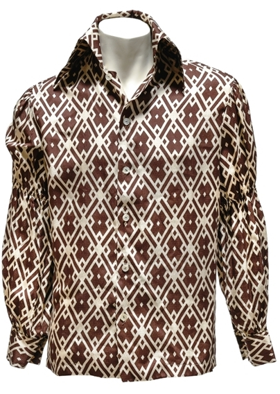 Elvis Presley - Brown-and-White Diamond Pattern Button-Down Shirt Gifted to Stamps Member Larry Strickland