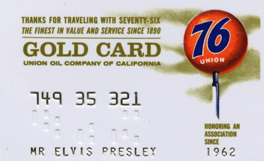 Elvis Union 76 Gas Gold Card
