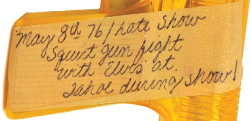 Label on Squirt Gun from the May 8, 1976 Sahara Tahoe Elvis Presley Squirt Gun Fight