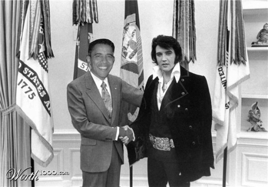 Obama and Elvis in Whitehouse
