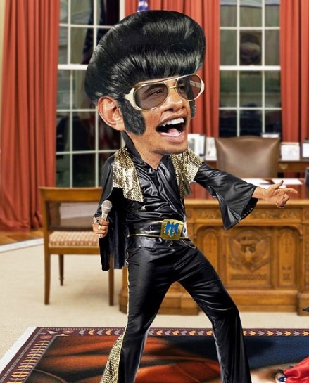 Obama as Elvis in Oval Office