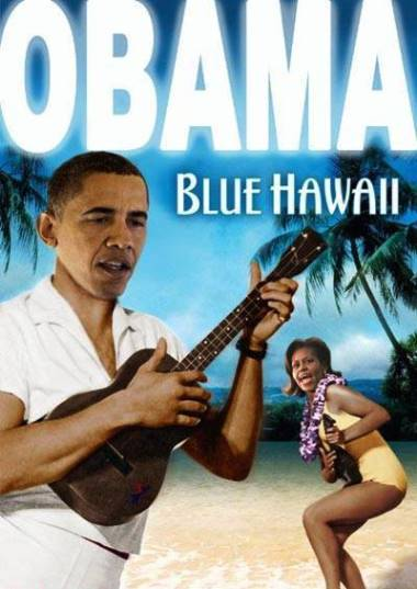 Obama in Blue Hawaii