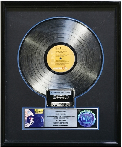 Platinum Record Award for Elvis Presley's Album Aloha from Hawaii