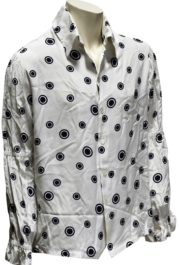 elvis Presley -White Button-Down Shirt with Blue Circles Pattern