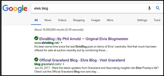 Elvis Blog on Google Search