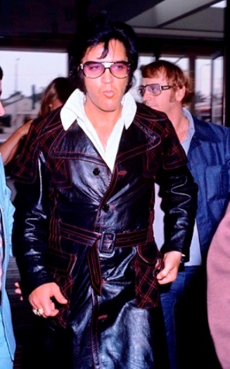 Elvis Presley Wearing Long Black Leather Coat