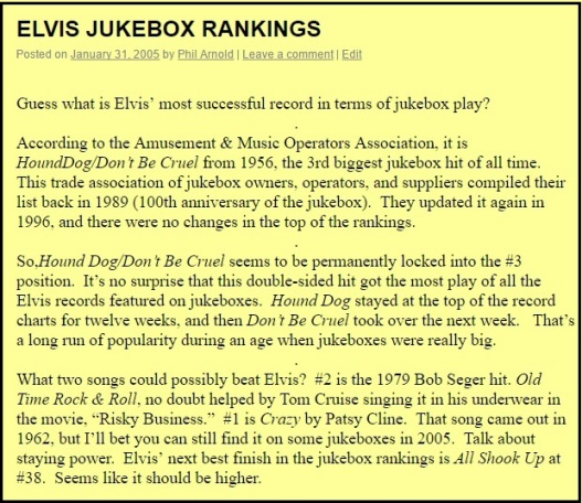 ElvisBlog - Elvis Jukebox Rankings