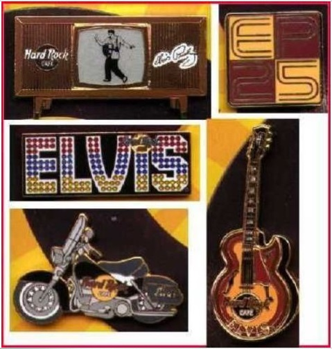 ELVIS PRESLEY 1977-2002 25th Anniversary 5 LAPEL PIN Boxed Set