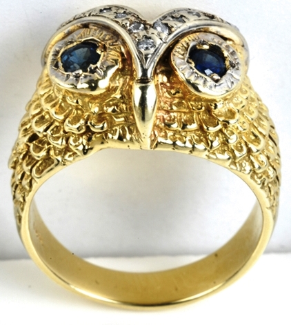 Elvis -- Diamond and Blue Sapphire Owl Ring - Front
