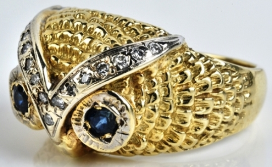 Elvis -- Diamond and Blue Sapphire Owl Ring