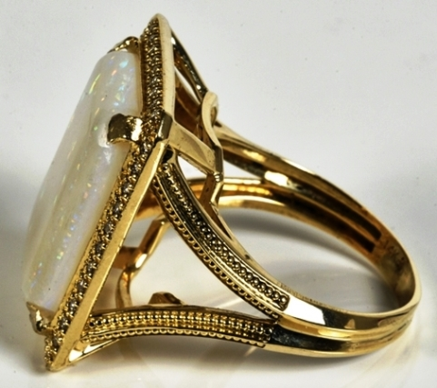 Elvis -- Diamond and Opal Ring - Side View
