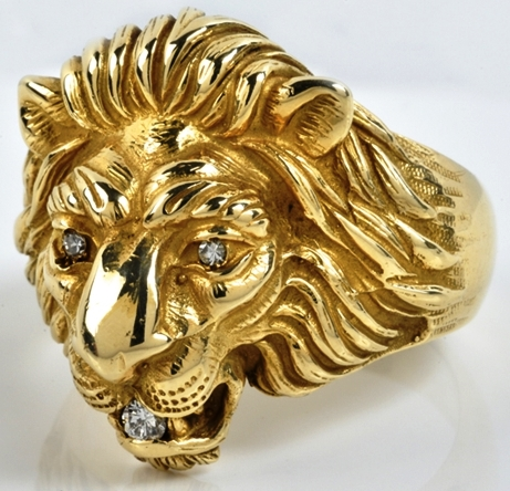 Elvis -- Gold and Diamond Lion Head Ring