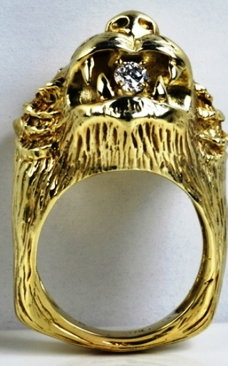Elvis -- Gold and Diamond Panther Head Ring - Front