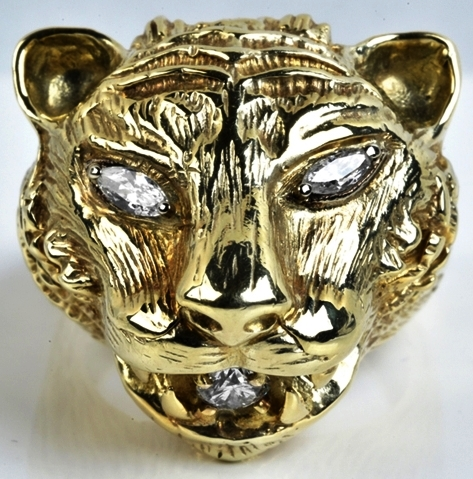 Elvis -- Gold and Diamond Panther Head Ring