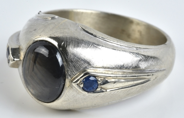 Elvis -- White Gold and Star Sapphire Ring
