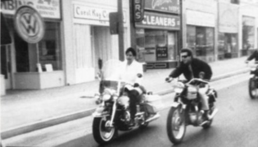 Elvis on his 1966 Harley-Davidson Electra-Glide and Johnny Rivers on a Triumph