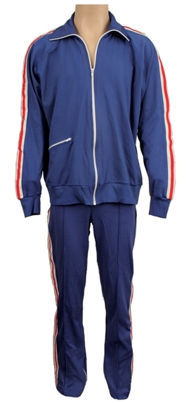 Blue Warm Up Suit With Red and White Stripes