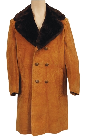 Elvis Presley's Custom Made Tan Suede Trench Coat With Faux Fur Collar