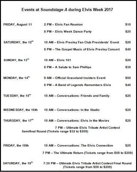 Elvis Week 2017 Fifteen Events at Soundstage A