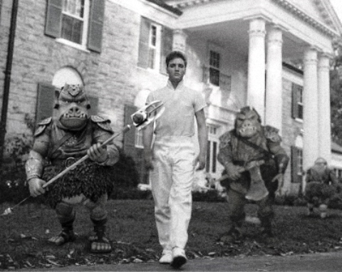 Elvis and two Gamorrean guards