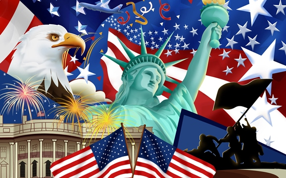 4th of July - Eagle, Statue of Liberty, White House, Flags, Iwo Jima