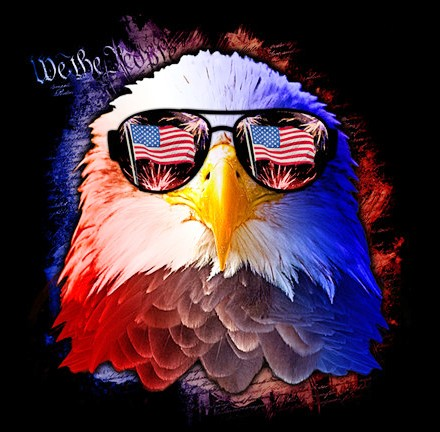 4th of July -Eagle with Flag Sunglasses