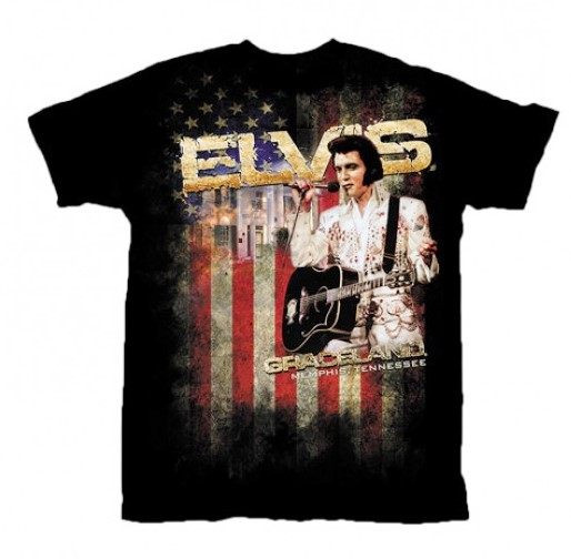 Elvis Presley T-shirt Graceland Aloha Eagle Jumpsuit Flag