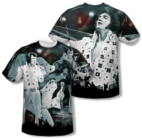 Elvis Presley T-shirt Now Playing - Front and Back