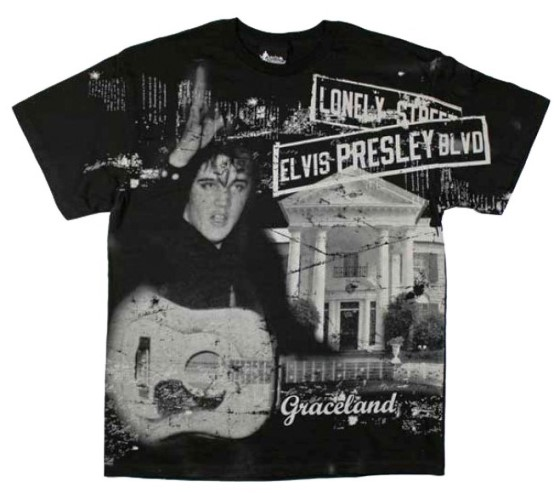Elvis Presley T-shirt Street Sign Belt Print